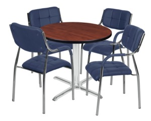 "Via 30"" Round X-Base Table - Cherry/Chrome & 4 Uptown Side Chairs - Navy"