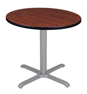 "Via 30"" Round X-Base Table - Cherry/Grey"