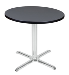 "Via 30"" Round X-Base Table - Grey/Chrome"