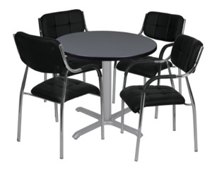 "Via 30"" Round X-Base Table - Grey/Grey & 4 Uptown Side Chairs - Black"