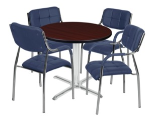 "Via 30"" Round X-Base Table - Mahogany/Chrome & 4 Uptown Side Chairs - Navy"