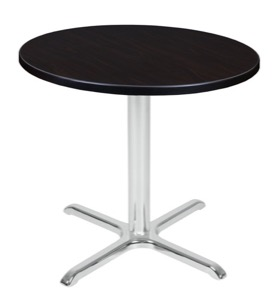 "Via 30"" Round X-Base Table - Mocha Walnut/Chrome"