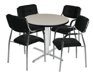 "Via 30"" Round X-Base Table - Maple/Chrome & 4 Uptown Side Chairs - Black"