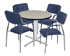 "Via 30"" Round X-Base Table - Maple/Chrome & 4 Uptown Side Chairs - Navy"