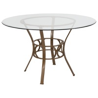 Round Glass Table Gold Frame