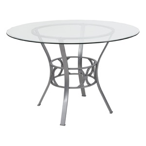 Round Glass Table Silver Frame