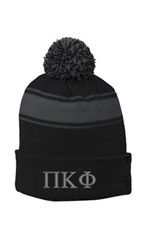 Greek Life Threads Solid Roll Up Beanie w/ Pom Pom