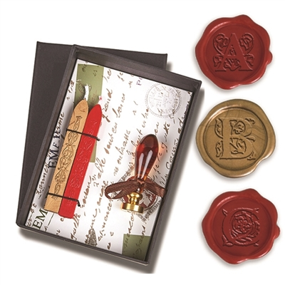 Wax Seal Kit -Initial with Amber Murano Glass Handle & Gold Sealing Wa