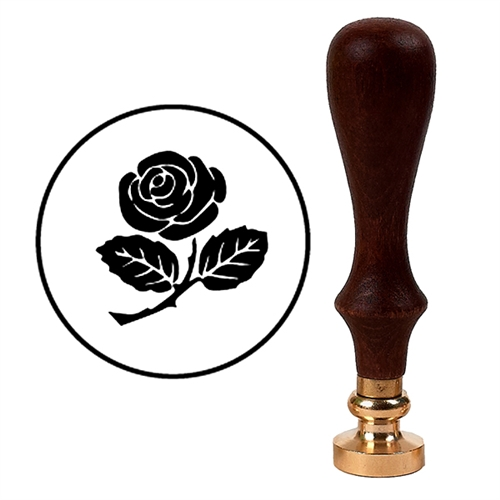 Wax Seal Stamp with Brown Wood Handle & Round Brass die - Rose