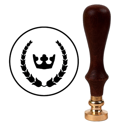Wax Seal Stamp with Brown Wood Handle & Round Brass die - Corona