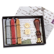Wax Seal Kit  with Initial  & 2 additional Dies, Wood Handle & Sealing Wax