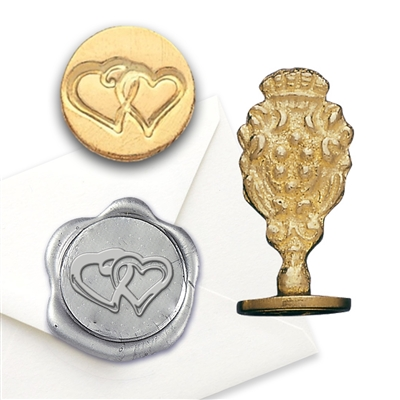 Wax Seal Double Heart- Brass Handle Stamp