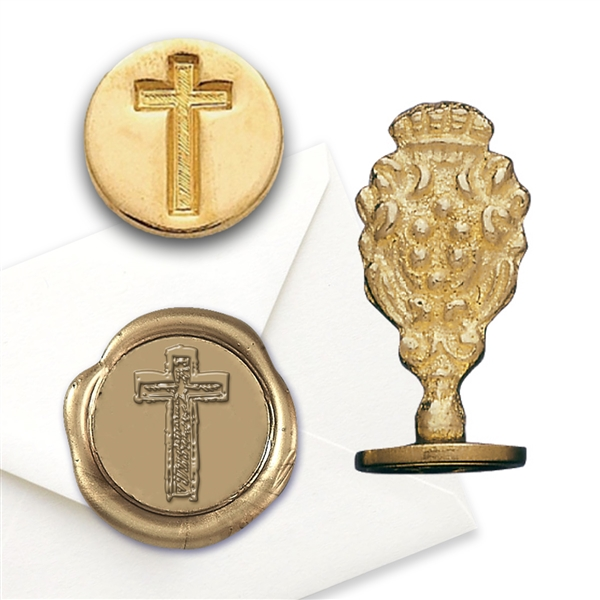 Religious Wax Seal Cross - Brass Handle Stamp