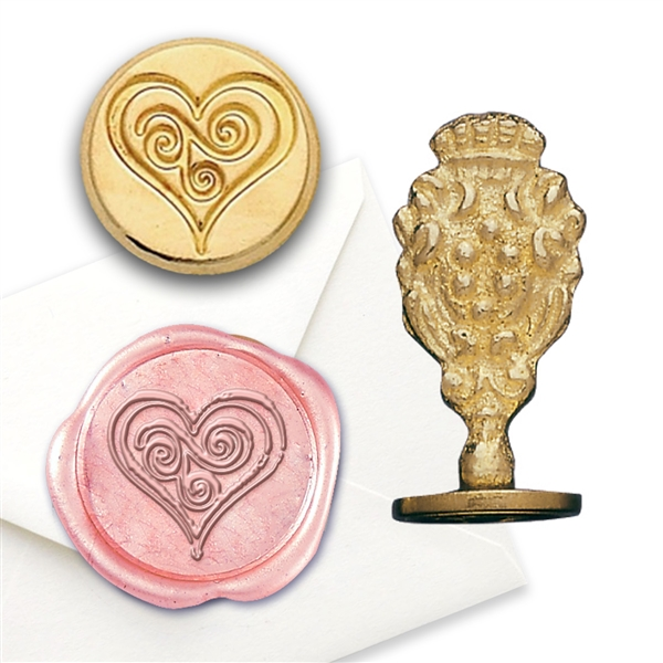 Heart Swirl Brass Seal