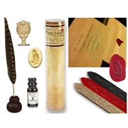 Harry-Potter -style Quill & Ink Writing Bundle  with Owl Wax Seal