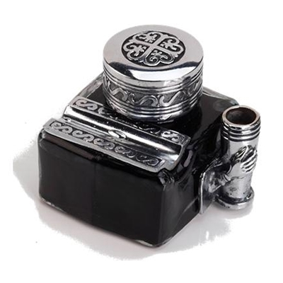 Glass Inkwell with 2 Pen Rests -filled with Ink