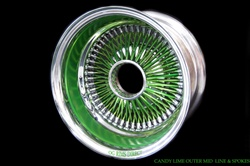 13X7 Reverse 100 Spokes Candy Lime Outer Mid line, and Spokes