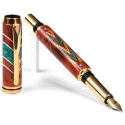Baron Fountain Pen - Amboyna Burl & Beeswing Narra with Turquoise and Southwest Inlays