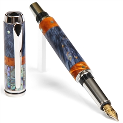 Baron Fountain Pen - Blue & Yellow Box Elder with Paua Abalone Shell Inlays