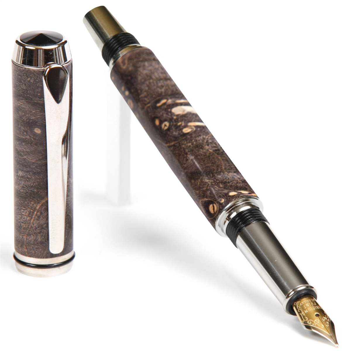 Baron Fountain Pen - Gray & Black Maple Burl