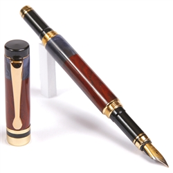 Classic Fountain Pen - Cocobolo with Blue Box Elder