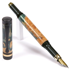 Classic Fountain Pen - Green and Silver Burl End Cap