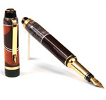 Cigar Fountain Pen - Rosewood & Gray Maple with Pernambuco Inlays