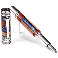 Majestic Fountain Pen - Amboyna Burl, Pyinma & Blue Box Elder with Paua Abalone Inlays
