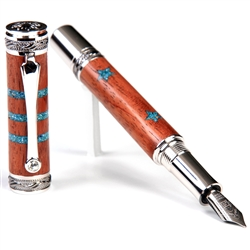 Majestic Fountain Pen - Pommele Bubinga with Turquoise Stars & Stripe Inlays