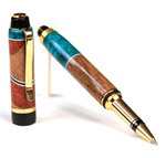 Cigar Rollerball Pen - Walnut & Amboya Burl with Turquoise Inlays