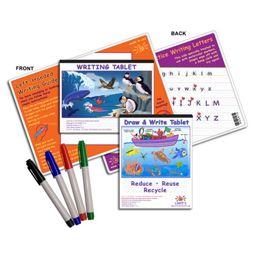 4 Piece Left Handed Writing Guide Set With Writing Tablet