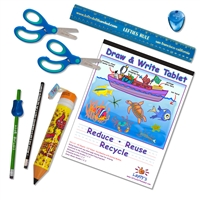 8 Piece Left-Handed School Supplies for Kids Under 8 - Blue/Green with Lefty Pencil case