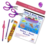 8 Piece Left-Handed School Supplies for Kids Under 8 - Pink/Purple in with Princess pencil case.