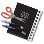 4 Piece Left-handed College Set, including left-handed notebook, left-handed scissors, and left-handed pens.