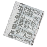 Metallic lefty spiral notebook with left-handed ruler