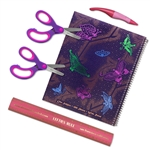 4 Piece Butterfly Left-handed Wide-Ruled Notebook Set