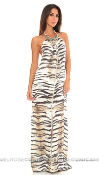 Baccio Couture Zebra Kasia Long Dress