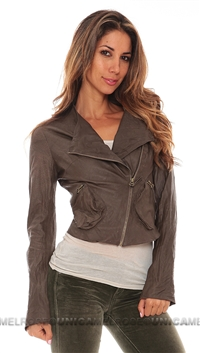Illia Dark Brown Suede Moto Jacket