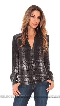 Parker Black Zig Zag Print with Leather Trim Zip Top