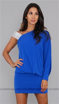 La Coquette Royal Blue Mini Dress with Crystal Shoulder