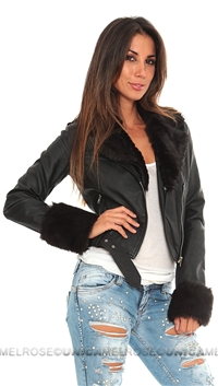 Growze Black Vegan Fake Fur Jacket