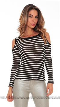Woodleigh Black Striped with Cut Outs Long Sleeve Sweater