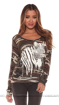 Lauren Moshi Brown Zebra Pullover