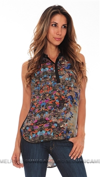 Parker Grey Floral Print Sleeveless Top
