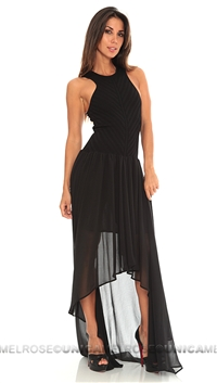 Torn by Ronny Kobo Black Renea Knit Chifon Maxi Dress