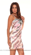 Mandalay Cream and Pink Dress w Sequin Detail