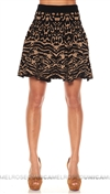 Ronny Kobo Black Gold Pattern Mini Skirt