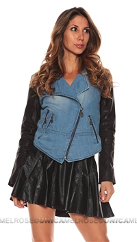 Doma Blue and Black Cropped Jacket