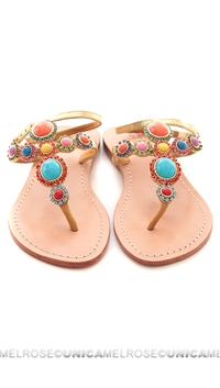 Mystique Multi Colored Gold W/ Stones Sandals