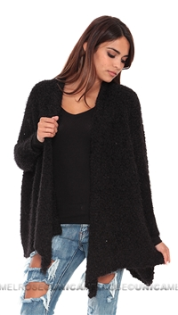 Care Of You Black Fluffy Cardigan
